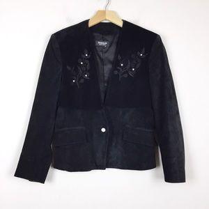 Vintage suede leather blazer jacket embroidered